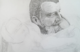 This is a portrait of my husband and daughter, I work on it when I have spare time so who knows when it will get finished.