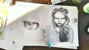 The girl on the right is complete, and I have picked up working on the baby on the left in my spare time. (HAHAHAHA- spare time. :D)